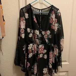 Black Floral Lace Romper